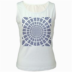 Illustration Binary Null One Figure Abstract Women s White Tank Top