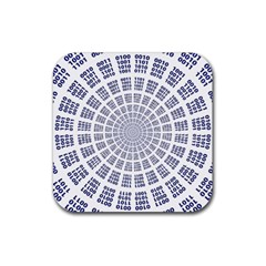 Illustration Binary Null One Figure Abstract Rubber Square Coaster (4 Pack)