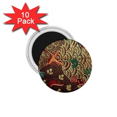 Art Traditional Flower  Batik Pattern 1 75  Magnets (10 Pack)