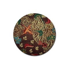 Art Traditional Flower  Batik Pattern Rubber Coaster (round)