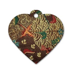 Art Traditional Flower  Batik Pattern Dog Tag Heart (two Sides)