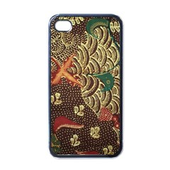 Art Traditional Flower  Batik Pattern Apple Iphone 4 Case (black)