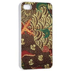 Art Traditional Flower  Batik Pattern Apple Iphone 4/4s Seamless Case (white)