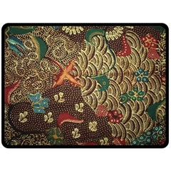 Art Traditional Flower  Batik Pattern Double Sided Fleece Blanket (large)