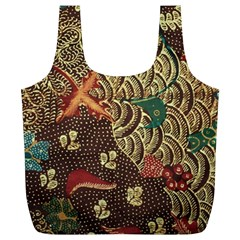 Art Traditional Flower  Batik Pattern Full Print Recycle Bags (l)