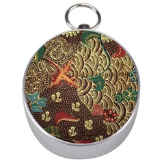 Art Traditional Flower  Batik Pattern Silver Compasses