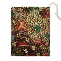 Art Traditional Flower  Batik Pattern Drawstring Pouches (xxl)