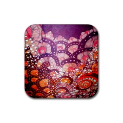 Colorful Art Traditional Batik Pattern Rubber Coaster (square)