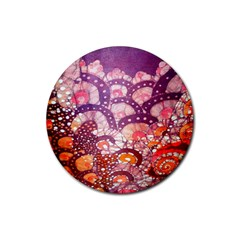 Colorful Art Traditional Batik Pattern Rubber Round Coaster (4 Pack)