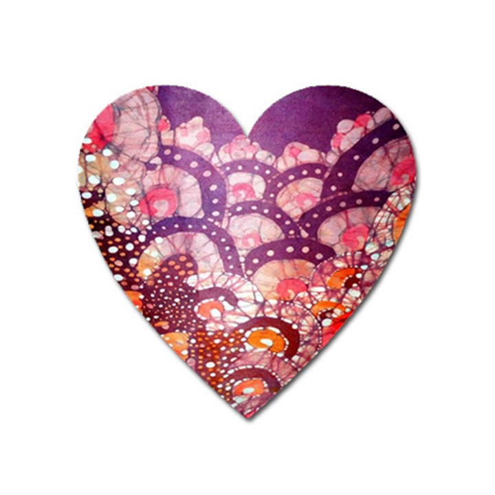 Colorful Art Traditional Batik Pattern Heart Magnet