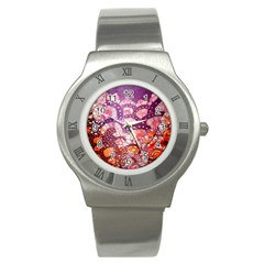 Colorful Art Traditional Batik Pattern Stainless Steel Watch