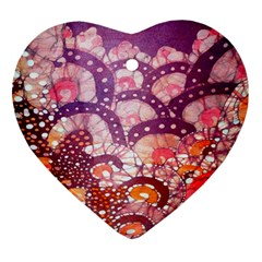Colorful Art Traditional Batik Pattern Heart Ornament (two Sides)