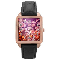 Colorful Art Traditional Batik Pattern Rose Gold Leather Watch