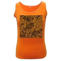 Art Traditional Batik Flower Pattern Women s Dark Tank Top