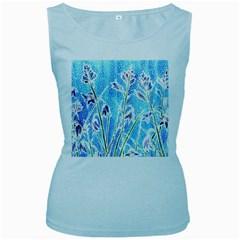 Art Batik Flowers Pattern Women s Baby Blue Tank Top