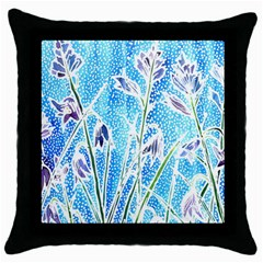 Art Batik Flowers Pattern Throw Pillow Case (black)