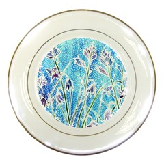 Art Batik Flowers Pattern Porcelain Plates
