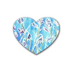 Art Batik Flowers Pattern Rubber Coaster (heart)