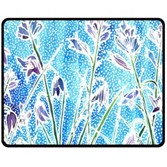 Art Batik Flowers Pattern Fleece Blanket (medium)