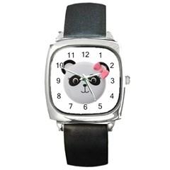 Pretty Cute Panda Square Metal Watch