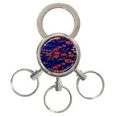 Batik  Fabric 3 Ring Key Chains