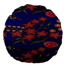 Batik  Fabric Large 18  Premium Round Cushions