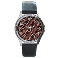 Art Traditional Batik Pattern Round Metal Watch