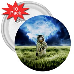 Astronaut 3  Buttons (10 Pack)