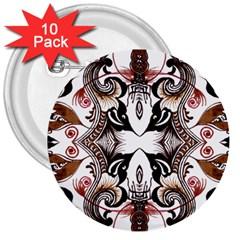 Art Traditional Batik Flower Pattern 3  Buttons (10 Pack)