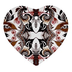 Art Traditional Batik Flower Pattern Heart Ornament (two Sides)
