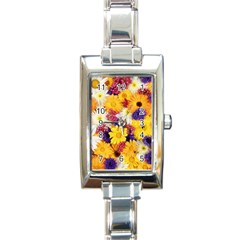 Colorful Flowers Pattern Rectangle Italian Charm Watch