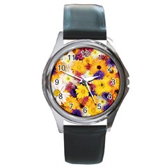 Colorful Flowers Pattern Round Metal Watch