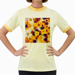 Colorful Flowers Pattern Women s Fitted Ringer T Shirts