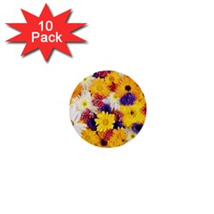 Colorful Flowers Pattern 1  Mini Buttons (10 Pack)