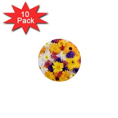 Colorful Flowers Pattern 1  Mini Magnet (10 Pack)
