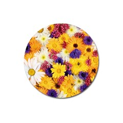 Colorful Flowers Pattern Magnet 3  (round)