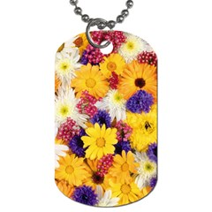 Colorful Flowers Pattern Dog Tag (two Sides)