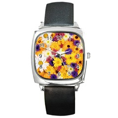 Colorful Flowers Pattern Square Metal Watch
