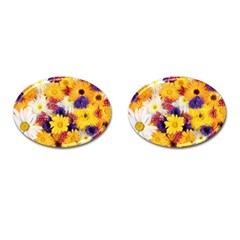 Colorful Flowers Pattern Cufflinks (oval)