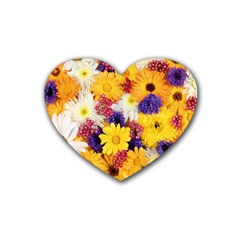 Colorful Flowers Pattern Heart Coaster (4 Pack)