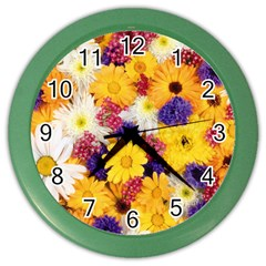 Colorful Flowers Pattern Color Wall Clocks