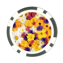 Colorful Flowers Pattern Poker Chip Card Guard