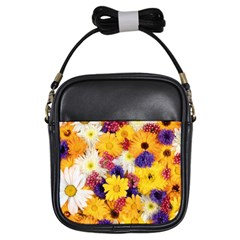 Colorful Flowers Pattern Girls Sling Bags