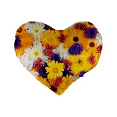 Colorful Flowers Pattern Standard 16  Premium Heart Shape Cushions