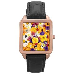 Colorful Flowers Pattern Rose Gold Leather Watch