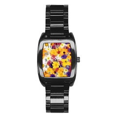 Colorful Flowers Pattern Stainless Steel Barrel Watch