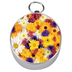 Colorful Flowers Pattern Silver Compasses