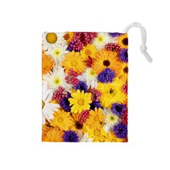 Colorful Flowers Pattern Drawstring Pouches (medium)