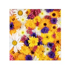 Colorful Flowers Pattern Small Satin Scarf (square)