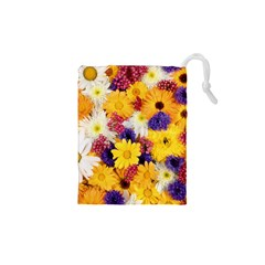 Colorful Flowers Pattern Drawstring Pouches (xs)